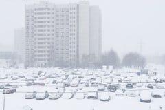 Ciężki opad śniegu w ulicach Moskwa Obrazy Royalty Free