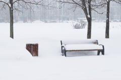 Ciężki opad śniegu w ulicach Moskwa Fotografia Royalty Free