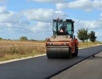 Ciężki rolownik rolek asfalt Fotografia Royalty Free