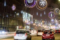 Ciężki ruch drogowy Podczas zimy Śnieżnej burzy W W centrum Bucharest mieście Zdjęcie Royalty Free