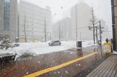Ciężki snowing przy centrum miasta Sapporo, hokkaido Japonia fotografii wziąć 25/1/2016 Zdjęcia Stock