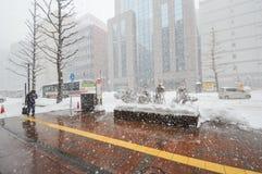 Ciężki snowing przy centrum miasta Sapporo, hokkaido Japonia fotografii wziąć 25/1/2016 Fotografia Royalty Free