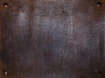 Ciężki szorstki grunge tła metalu talerz z śrubowymi dziurami Zdjęcia Royalty Free
