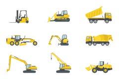 Ciężkiej ciężarówki budowy ustalone kolekcje z żółtym kolorem i różnorodnym typem - wektor royalty ilustracja