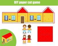 Cięcia i kleidła papierowa gra Edukacyjny dzieci DIY rzemiosła worksheet robi domowi modelować fotografia stock