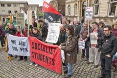 cięcie protestujący słuchają speaches w Exeter Fotografia Stock