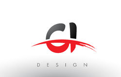 CI C I Brush Logo Letters with Red and Black Swoosh Brush Front Stock Image