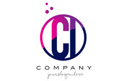 CI C I Circle Letter Logo Design with Purple Dots Bubbles Royalty Free Stock Photo