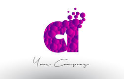 CI C I Dots Letter Logo with Purple Bubbles Texture. Royalty Free Stock Images