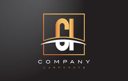 CI C I Golden Letter Logo Design with Gold Square and Swoosh. Stock Photography