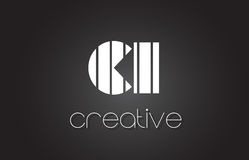 CI C I Letter Logo Design With White and Black Lines. Stock Photography