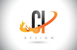 CI C I Letter Logo with Fire Flames Design and Orange Swoosh. Stock Photography
