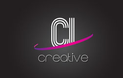 CI C I Letter Logo with Lines Design And Purple Swoosh. Royalty Free Stock Photos