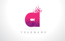 CI C I Letter Logo with Pink Purple Color and Particles Dots Des Royalty Free Stock Image