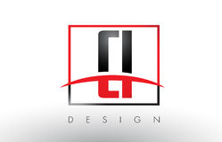 CI C I Logo Letters with Red and Black Colors and Swoosh. Royalty Free Stock Photo