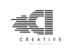 CI C I Zebra Letter Logo Design with Black and White Stripes Royalty Free Stock Image