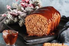 Cięcie domowej roboty czekoladowy chleb Zdjęcia Stock