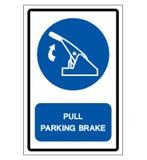 Ci?gnienie parking hamulca symbolu znak, Wektorowa ilustracja, Odizolowywa Na Bia?ej t?o etykietce EPS10 royalty ilustracja