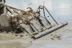 Ciągnik Orze w Rice polu Obraz Royalty Free