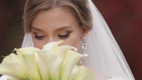 Ci?rrese encima de novia hermosa en exterior elegante del vestido que se casa Mujer encantadora que presenta a la c?mara metrajes