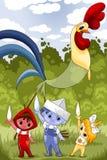 I bambini e un fumetto del carattere del gallo disegnano l'illustrazione Immagine Stock