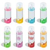 Ciało opieki fachowych serii gatunku kosmetyczny pojęcie Ruruje gel, mydło butelka, szamponu pakować Ciało opieki wektor Zdjęcie Stock