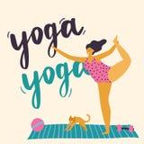 Ciało pozytywna dziewczyna robi joga royalty ilustracja