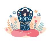 Ciało pozytywu joga Nowożytna płaska wektorowa ilustracja z motywacyjnego ciała pozytywnym zwrotem ilustracja wektor