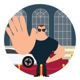 Ciało strażnik na czerwony chodnik przerwy znaku z ręki dużym ciałem Fotografia Stock