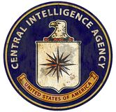 CIA logo seal C.I.A. Central Intelligence Agency. Grunge old metal tin rusted weathered USA stock illustration