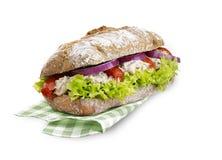 Ciabatta三明治与裁减路线的金枪鱼色拉 库存照片