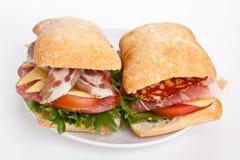 Ciabatta三明治用各种各样的肉 免版税库存图片