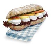 Ciabatta与裁减路线的三明治乳酪 免版税库存照片