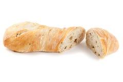 Ciabatta面包。隔绝在白色背景 免版税库存照片