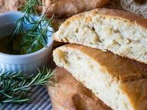 Ciabatta面包用新鲜的迷迭香 免版税库存照片