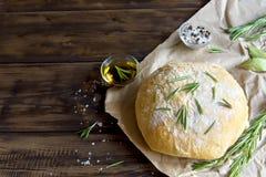 Ciabatta面包用迷迭香 库存照片
