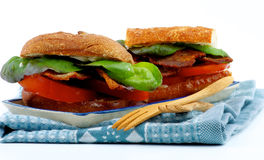 Ciabatta Bacon Sandwiches Stock Photos