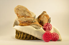 Ciabatta in a basket Stock Images