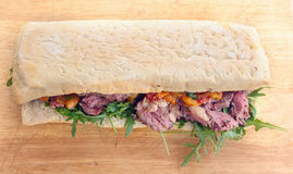 Ciabatta beef sandwich Royalty Free Stock Photo