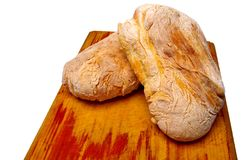 Ciabatta bread on board Stock Photos