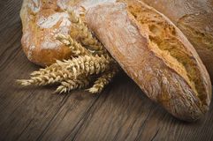 Ciabatta bread with ears of corn Stock Images