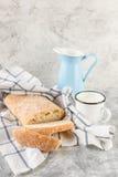 Ciabatta Bread and Milk Royalty Free Stock Image