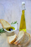 Ciabatta bread. With olive oil and balsamic vinegar dip Stock Photos