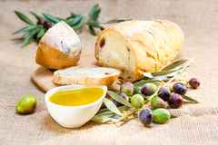 Ciabatta bread with olive oil. Royalty Free Stock Photography