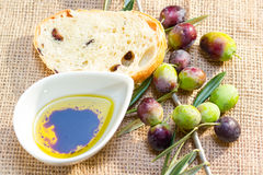 Ciabatta bread with olive oil. Stock Images