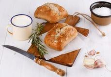 Ciabatta bread on rustic wooden background Stock Image