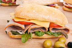Ciabatta bread sandwich with Meat Stock Photos