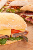 Ciabatta bread sandwiches Stock Images