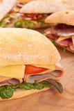 Ciabatta bread sandwiches stock images