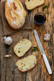 Ciabatta bread. On a wooden table, top view Royalty Free Stock Photography